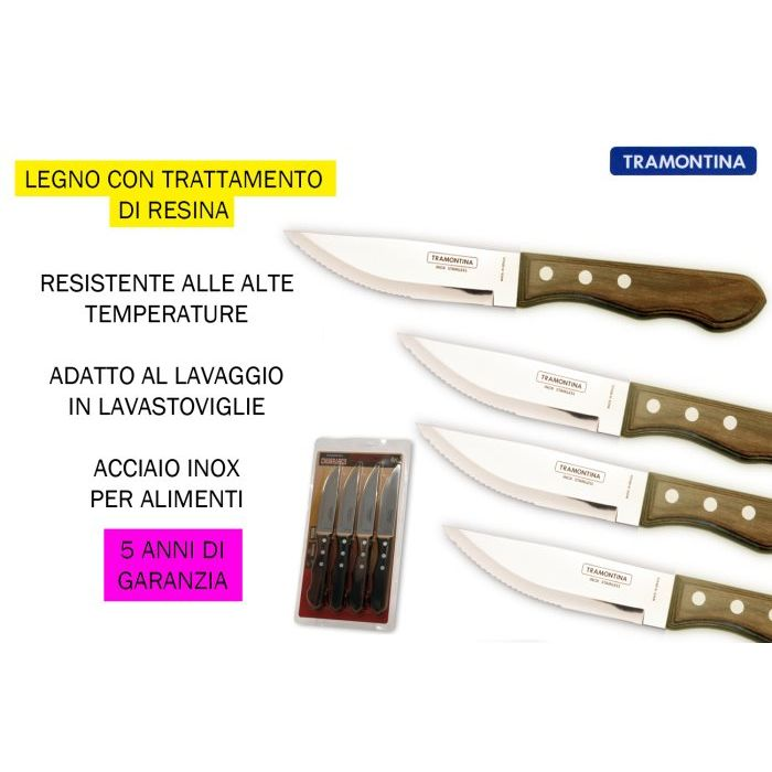 Tramontina Coltello Bistecca Polywood Jumbo 4 Pezzi Naturale
