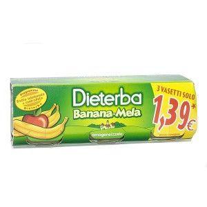 Dieterba omogeneizzato banana mela 3 pezzi 80 g