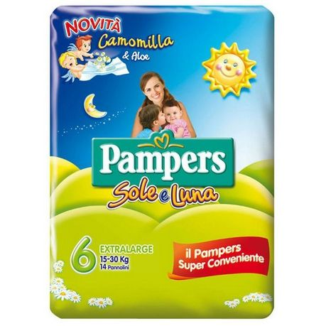Pannolino per bambino pampers sole  luna flash xl 14 pezzi