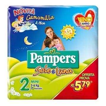Pannolino per bambino pampers sole  luna flash mini 21 pezzi
