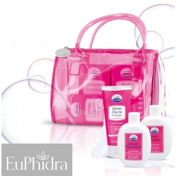 Bauletto in vinile con 1 dermodoccia  1 baby shampoo  1 balsamo ultradelicato euphidra amidomio