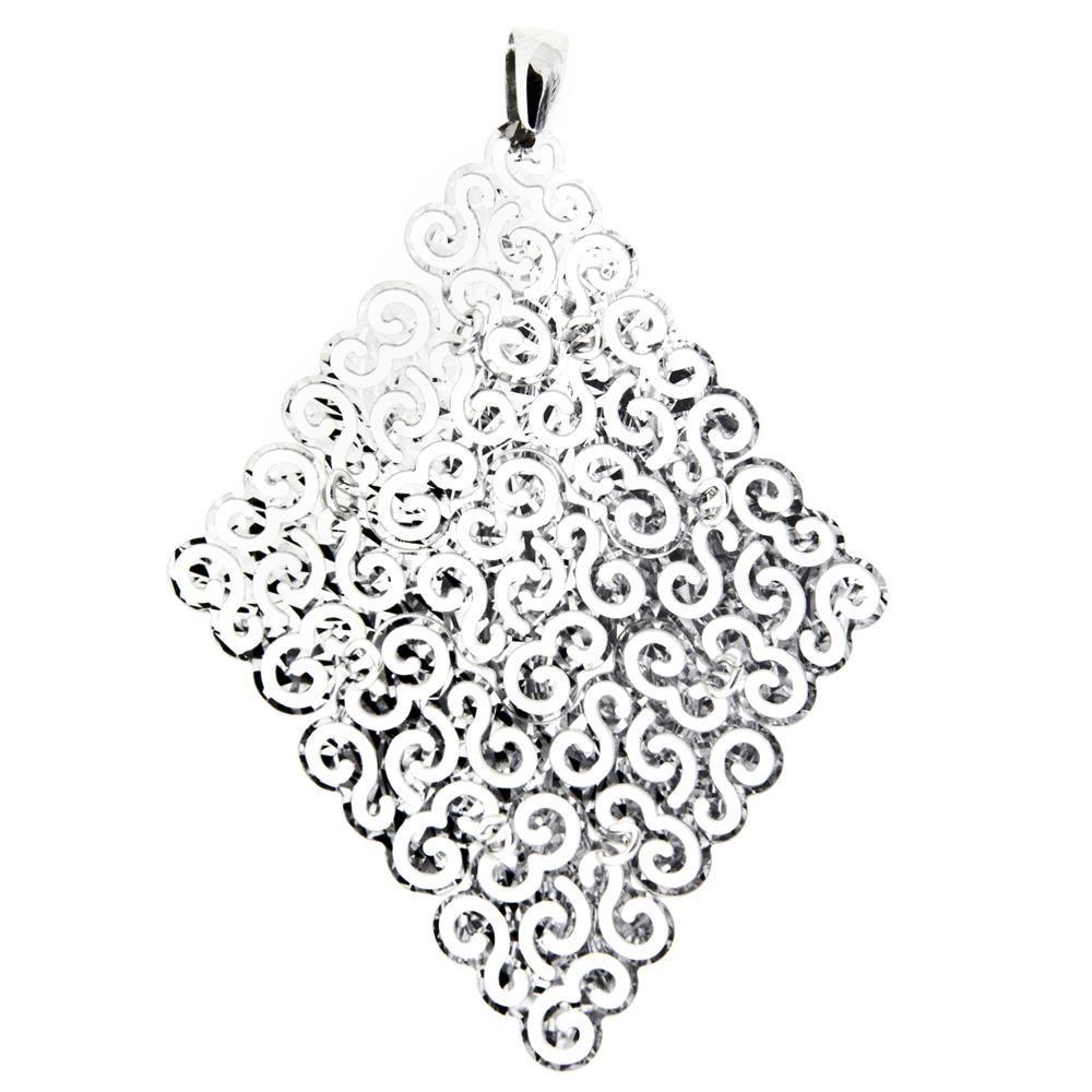 Paclo 15DC17LIPR999 Pendente Galvanica Rodiata Diamantato Collezione Diamantata 7cm