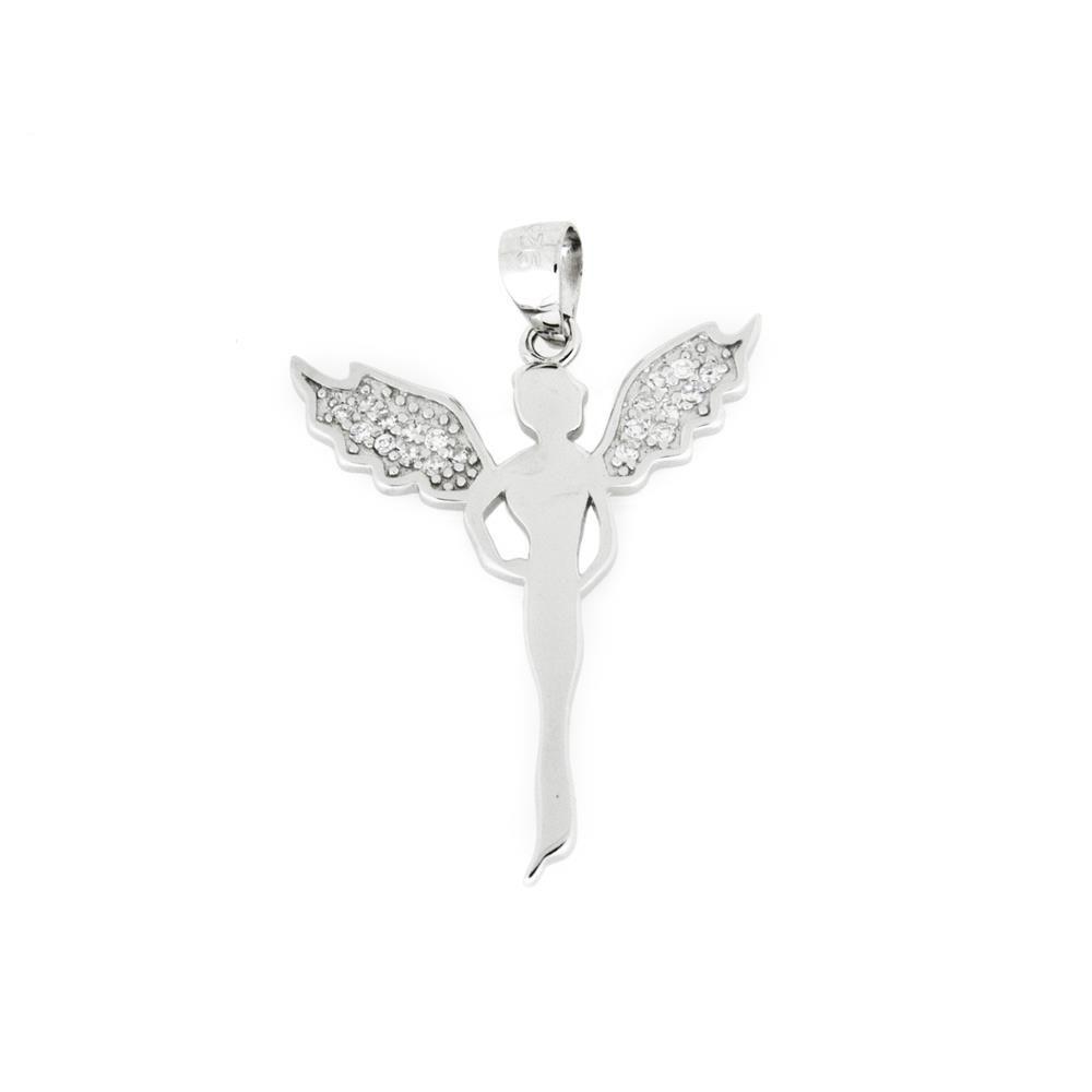 Paclo 16AN03REPR999 argento ag 925 Pendente Galvanica Rodiata Zircone Bianco Diavolo 3cm