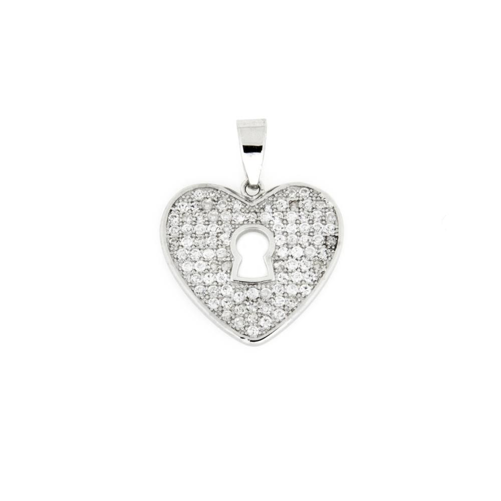 Paclo 16C007IPPR999 argento ag 925 Pendente Galvanica Rodiata Zircone Bianco Cuore 2cm