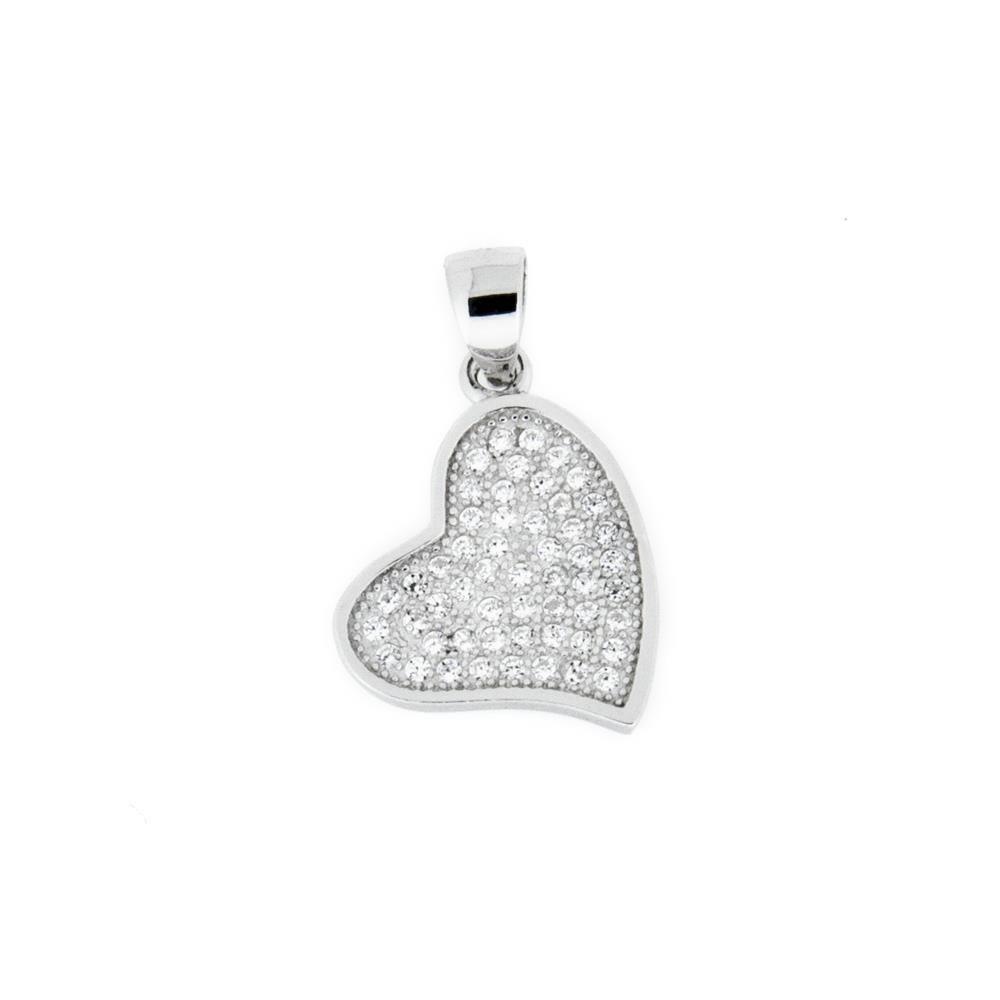 Paclo 16C016IPPR999 argento ag 925 Pendente Galvanica Rodiata Zircone Bianco Cuore 1cm