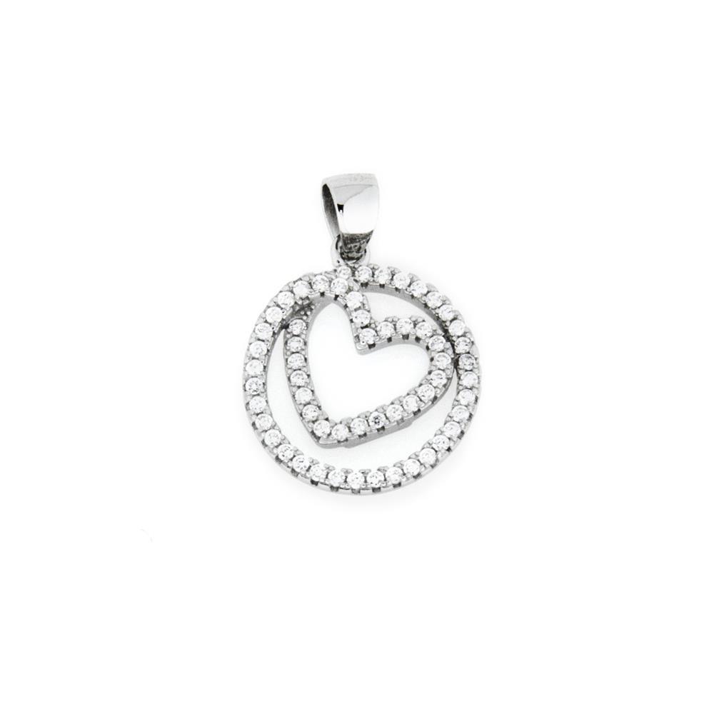 Paclo 16C017IPPR999 argento ag 925 Pendente Galvanica Rodiata Zircone Bianco Cuore 14cm
