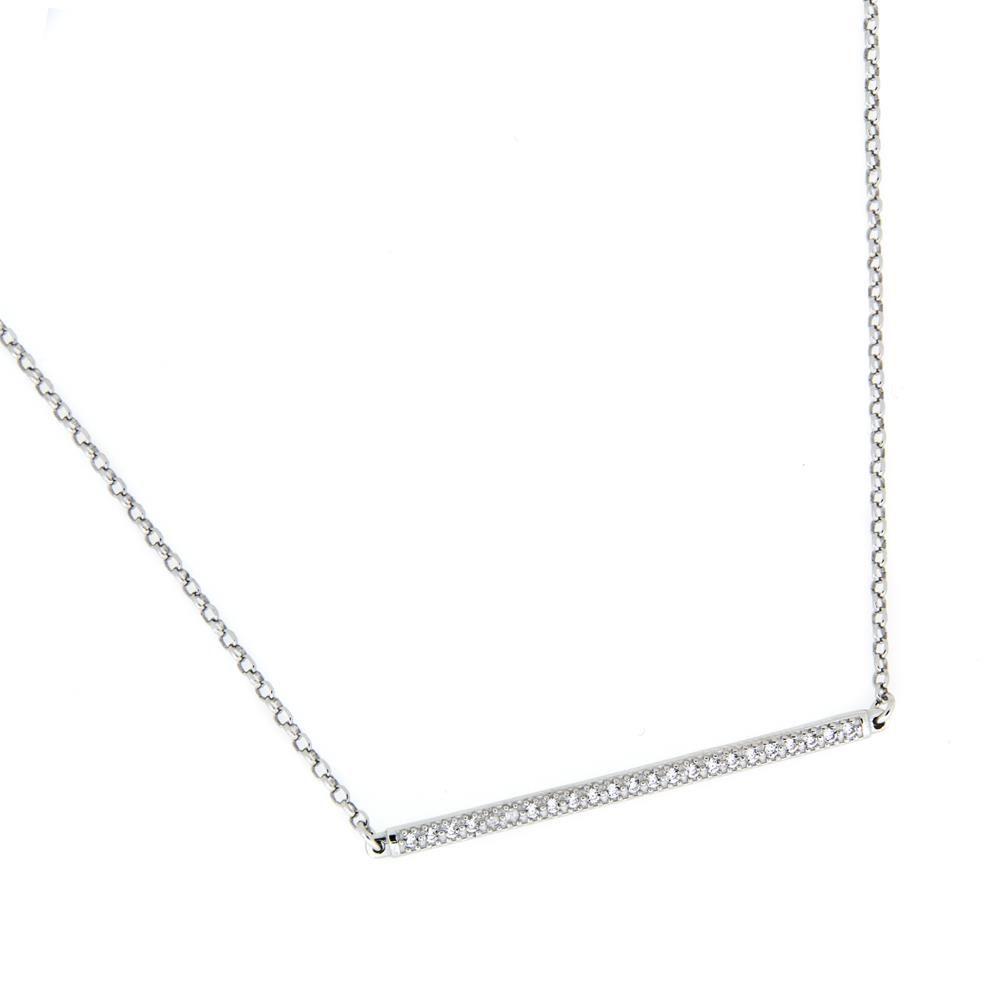 Paclo 16CC03IPNR999 argento ag 925 Collana Galvanica Rodiata Zircone Bianco Cool Classic 43 piu 3cm