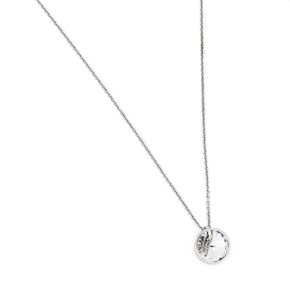 Paclo 16C008STNR999 argento ag 925 Collana Galvanica Rodiata e Swarovski Crystal 40 piu 2cm