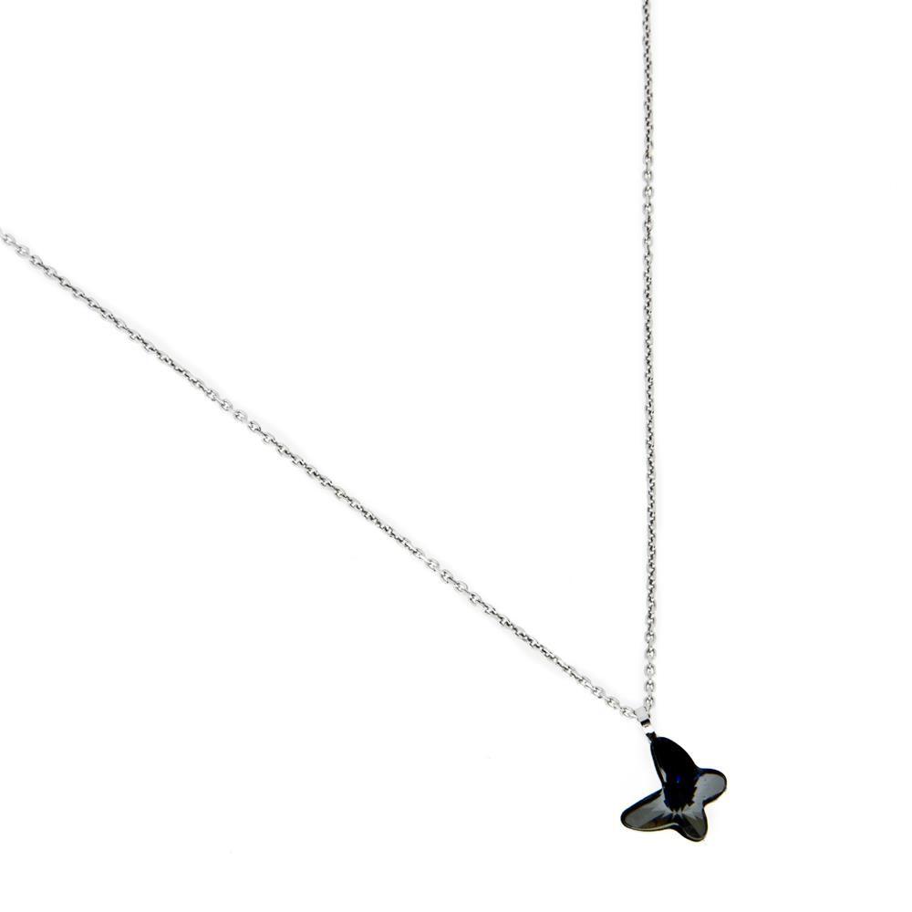 Paclo 16C010STNR999 argento ag 925 Collana Galvanica Rodiata e Swarovski Black Diamond 40 piu 2cm