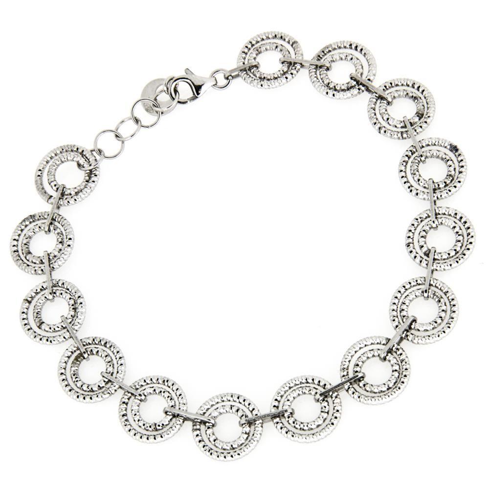 Paclo 16DC12LIBR999 argento ag 925 Bracciale Galvanica Rodiata Diamantato Filo Diamantato 19 piu 1cm
