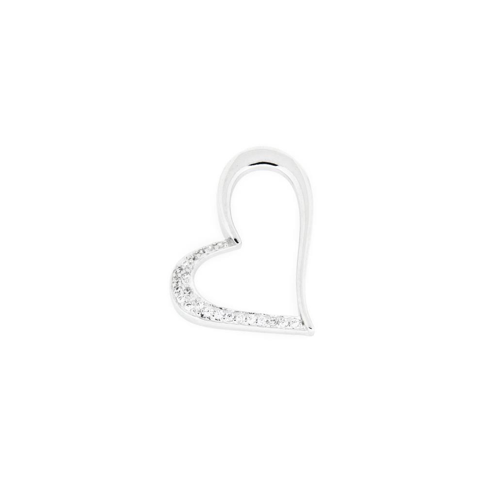 Paclo 16C023IPPR999 argento ag 925 Pendente Galvanica Rodiata Zircone Bianco Cuore 23cm
