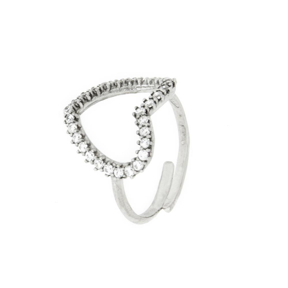 Paclo 16C024IPRR99A argento ag 925 Anello Anello Regolabile Galvanica Rodiata Zircone Bianco Cuore