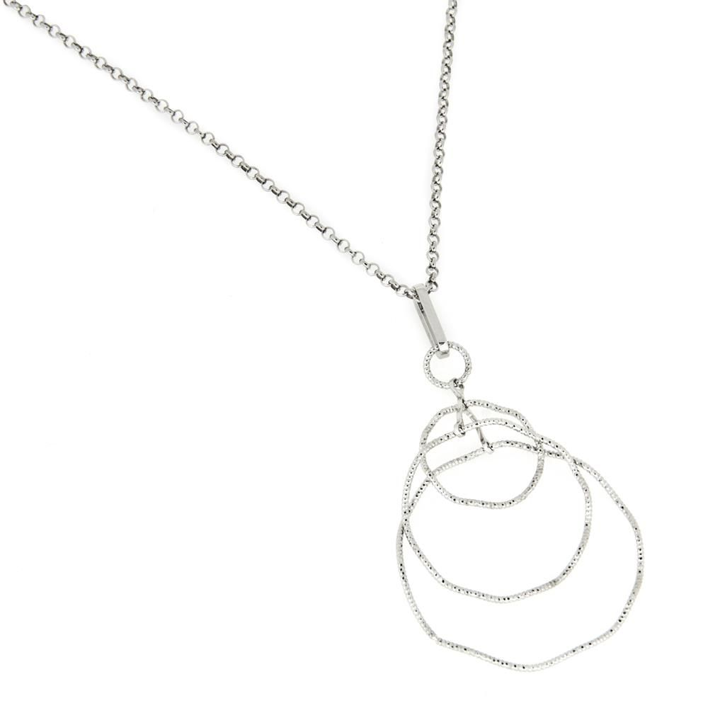 Paclo 16DC22LINR999 argento ag 925 Collana Galvanica Rodiata Filo Diamantato 42cm