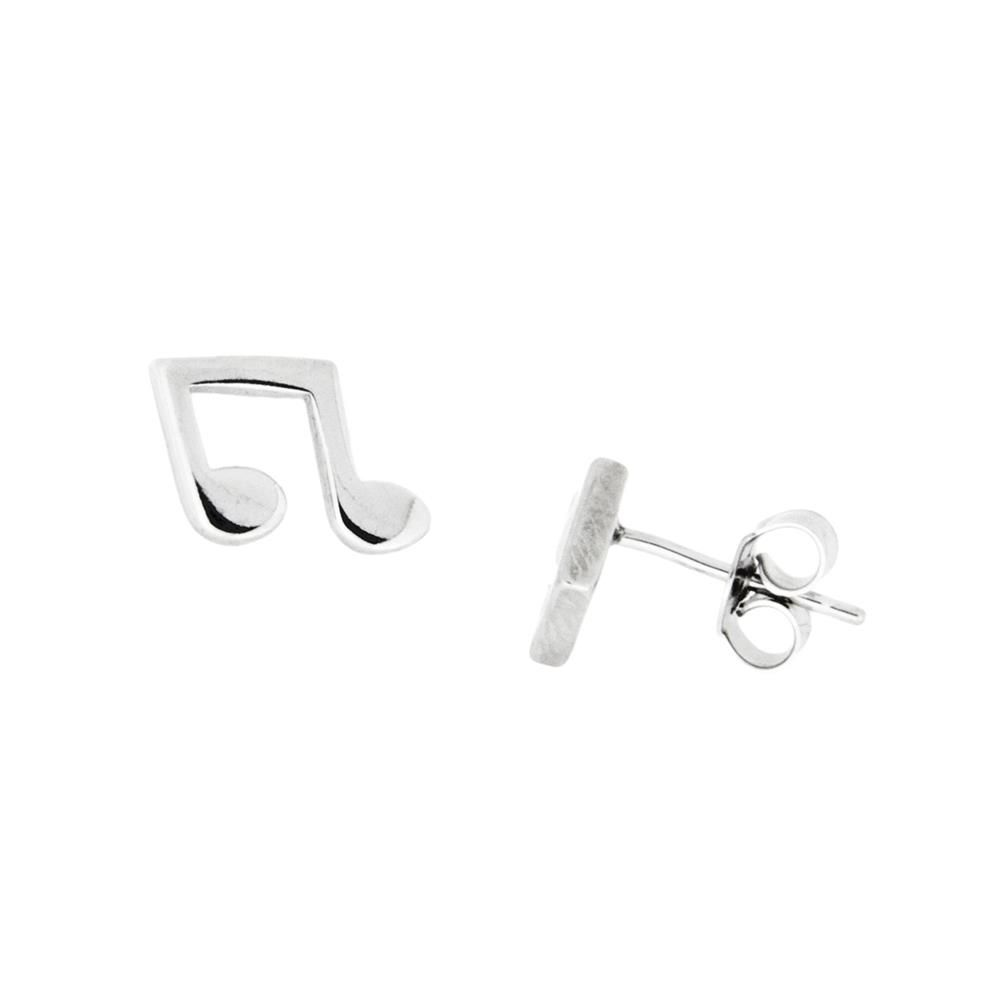 Paclo 16NM05LIER999 argento ag 925 Orecchini Galvanica Rodiata Note Musicali 1cm