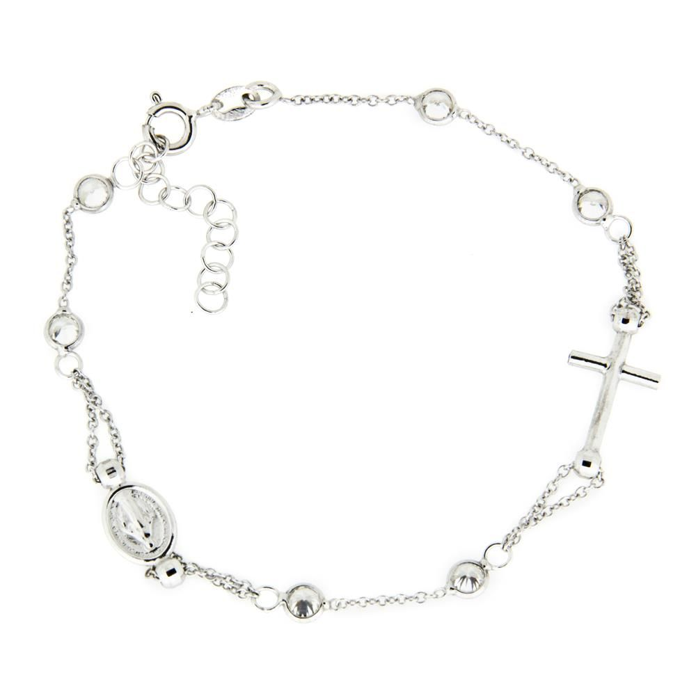 Paclo 16SA04REBR999 argento ag 925 Bracciale Galvanica Rodiata Motivo Religioso Zircone Bianco 18 piu 3cm