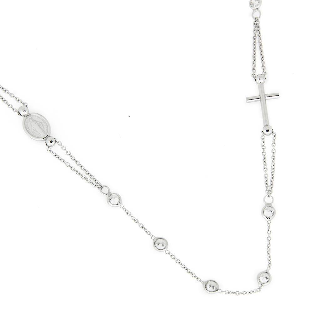 Paclo 16SA04REKR999 argento ag 925 Rosari Galvanica Rodiata Motivo Religioso Zircone Bianco 51cm