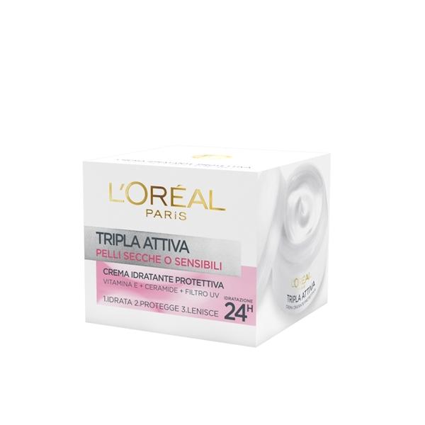 LOreal Crema Viso Tripla Attiva Idratante Protettiva Pelli Secche O Sensibili 50 Ml