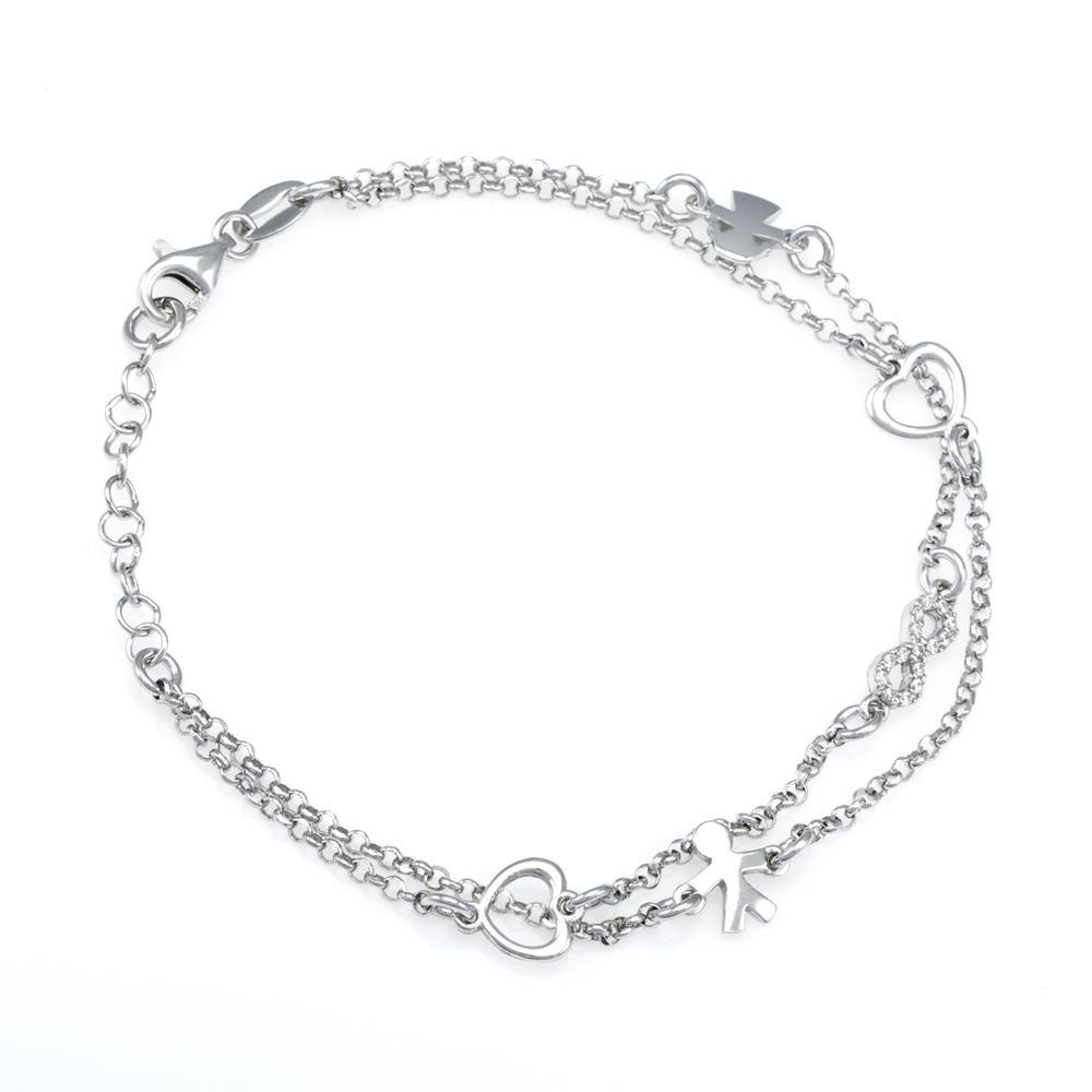 Paclo 16PV10IPBR999 argento ag 925 Bracciale Galvanica Rodiata Zircone Bianco Bambino Bambina 17 piu 3cm