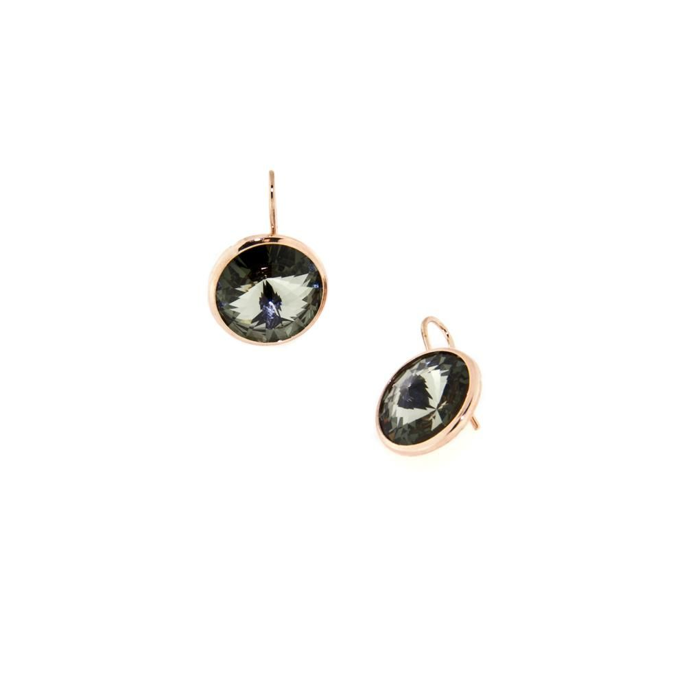 Paclo 14CY18STEP999 argento ag 925 Orecchini Galvanica Rose e Swarovski Black Diamond
