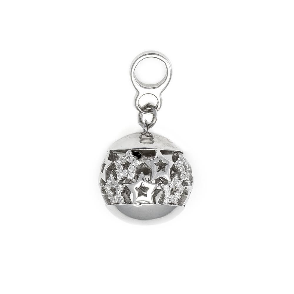 Paclo 16AB07LIPR999 argento ag 925 Pendente Galvanica Rodiata Zircone Bianco Stelle 16cm
