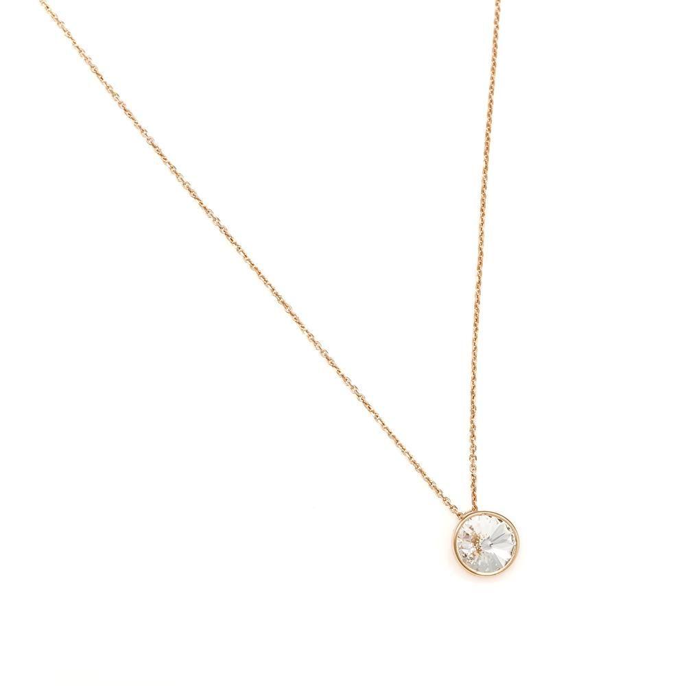 Paclo 16C019STNP999 argento ag 925 Collana Galvanica Rose e Swarovski Crystal 42 piu 3cm