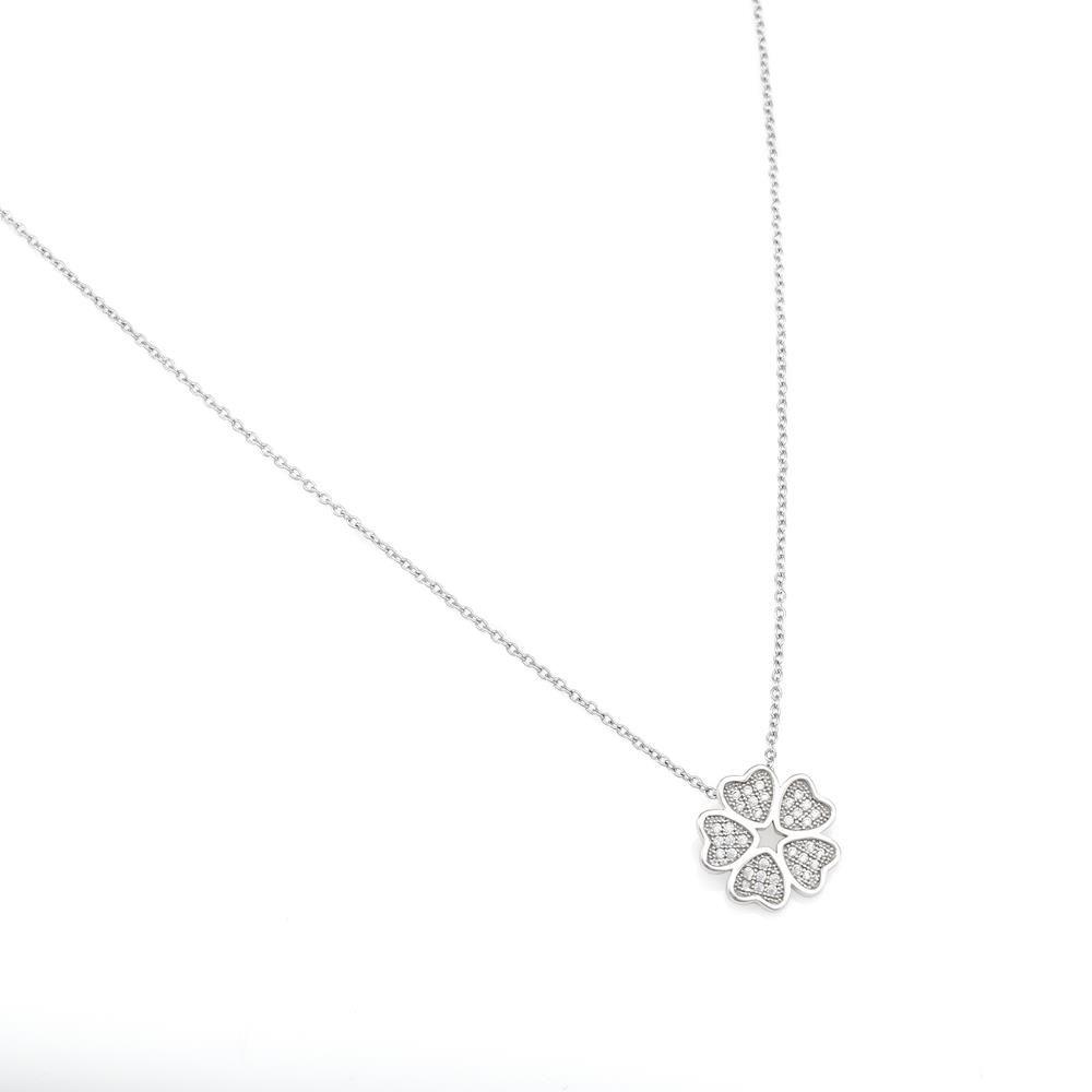 Paclo 16FI02IPNR999 argento ag 925 Collana Galvanica Rodiata Zircone Bianco Quadrifoglio 40 piu 3cm