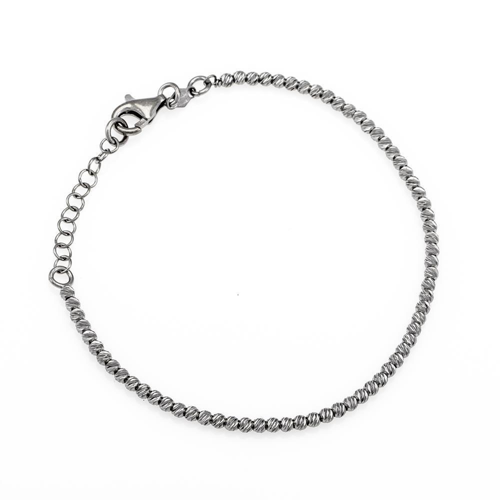 Paclo 16PA03LIBN999 argento ag 925 Bracciale Galvanica Rutenio Diamantato Palline 17 piu 3cm