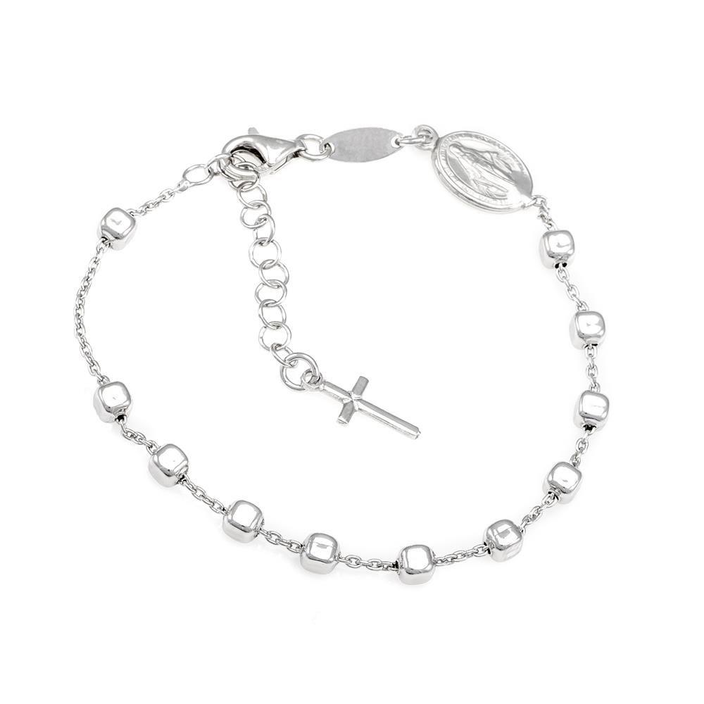 Paclo 16RE01REBR999 argento ag 925 Bracciale Galvanica Rodiata Motivo Religioso 17 piu 3cm