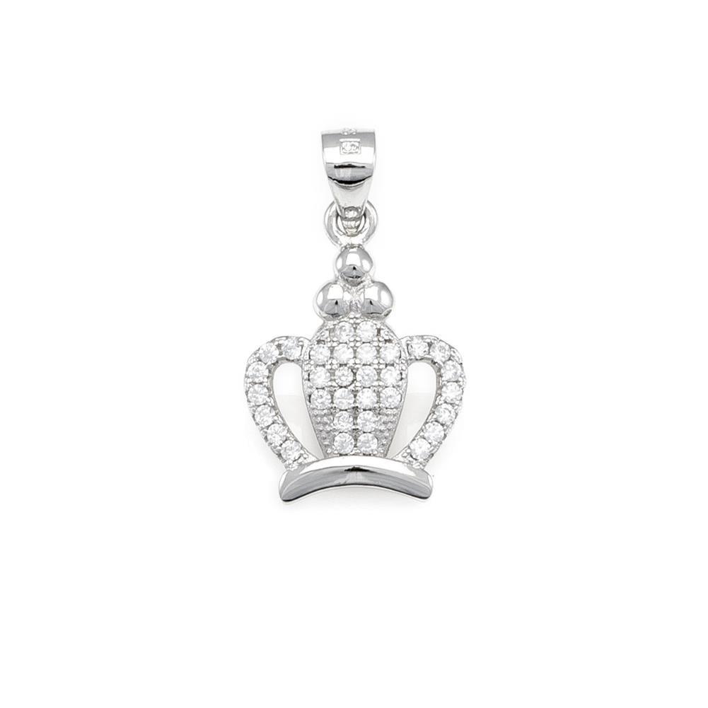 Paclo 16Z022IPPR999 argento ag 925 Pendente Galvanica Rodiata Zircone Bianco Corona 17cm