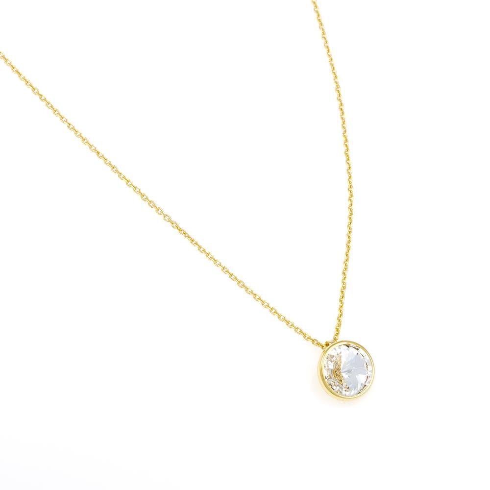Paclo 16C024STND999 argento ag 925 Collana Galvanica Dorata e Swarovski Crystal 42 piu 3cm