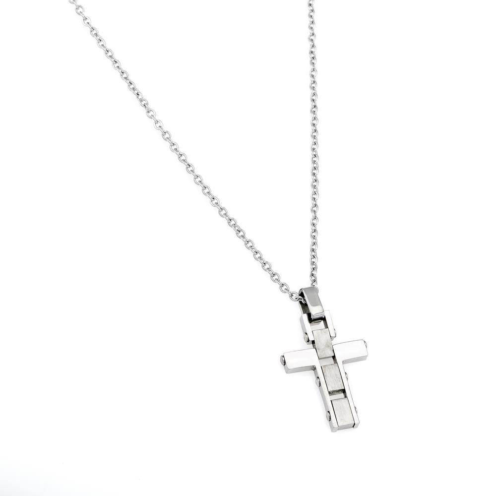 Paclo 16CR07RENR999 argento ag 925 Acciaio Collana Galvanica Rodiata Motivo Religioso 45 piu 4cm