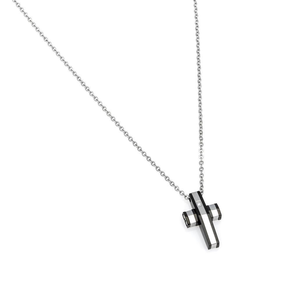 Paclo 16CR08RENR999 argento ag 925 Acciaio Collana Galvanica Rodiata Motivo Religioso 47 piu 3cm
