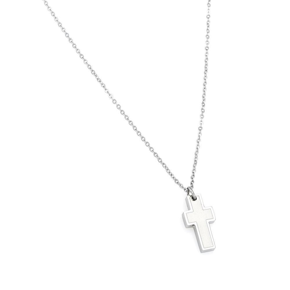 Paclo 16CR09RENR999 argento ag 925 Acciaio Collana Galvanica Rodiata Motivo Religioso 45 piu 5cm