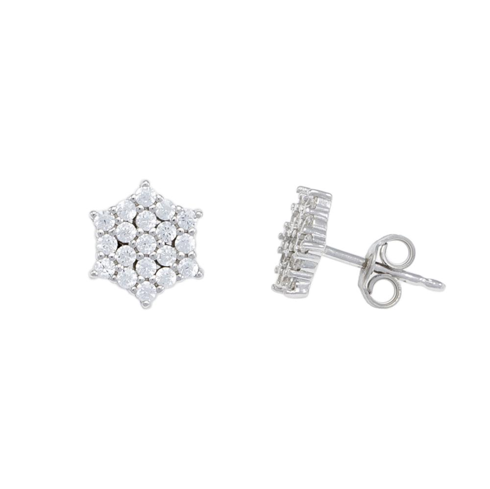 Paclo 16Z037IPER999 argento ag 925 Orecchini Galvanica Rodiata Zircone Bianco Fiocco di Neve 1cm