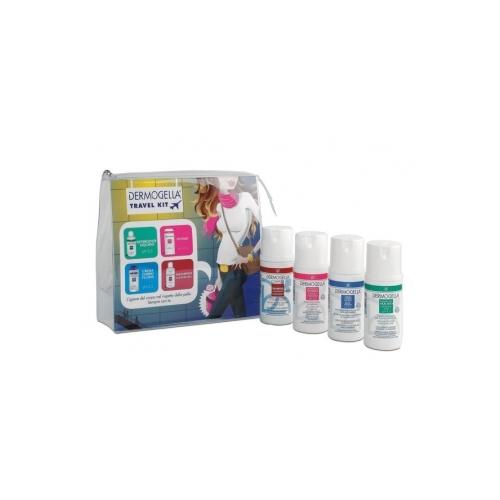 Dermogella  Mini travel kit  detergente liquido 100 ml  detergente intimo 100 ml  crema corpo fluida 100 ml  shampoo capelli normali 100 ml