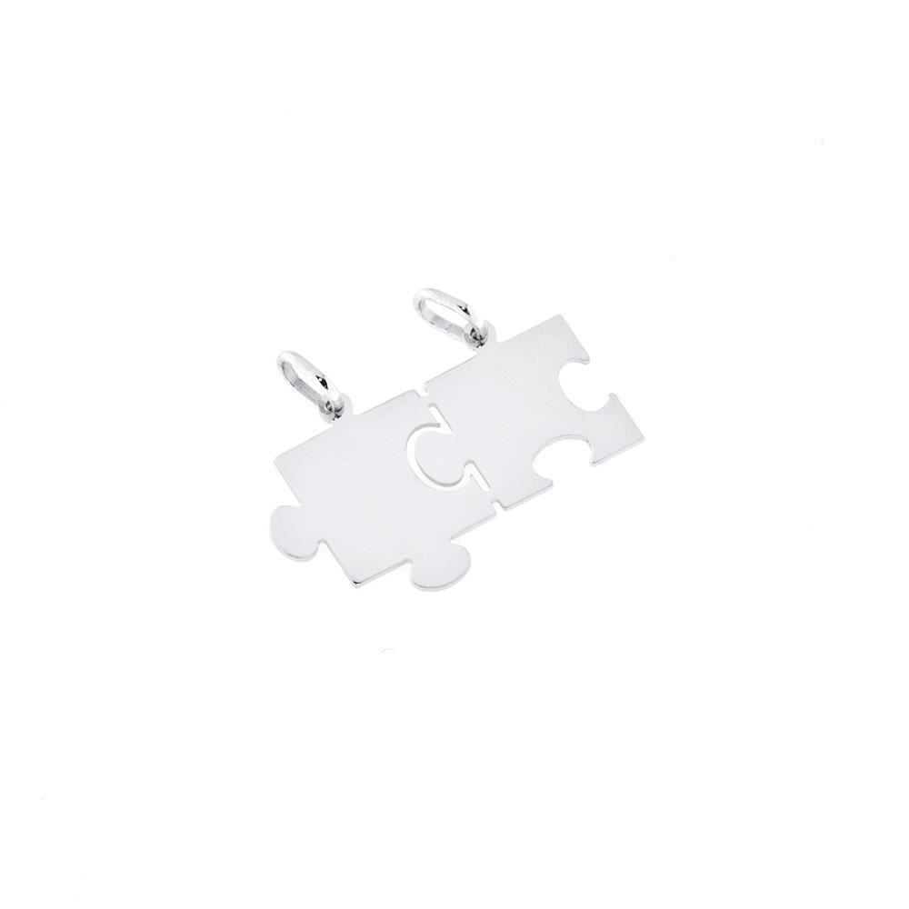 Paclo 14SP02ACPR999 argento ag 925 Pendente Galvanica Rodiata con Soggetti Spezzabili Motivo Simboli Puzzle