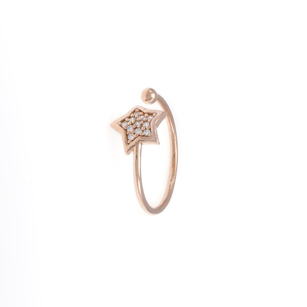 Paclo 16ST04IPRP99A argento ag 925 Anello Anello Regolabile Galvanica Rose Zircone Bianco Stella