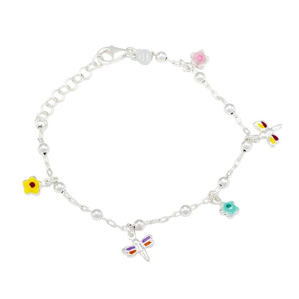 Paclo 16A013PEBA999 argento ag 925 Bracciale Galvanica Argentata con Smalto Farfalla e fiori colori assortiti 16cm