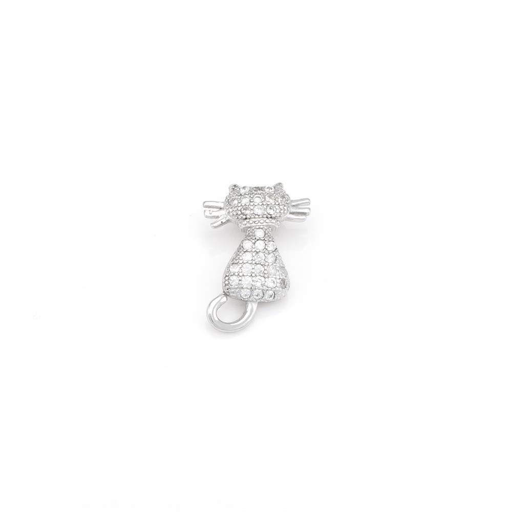 Paclo 16AN17IPPR999 argento ag 925 Pendente Galvanica Rodiata Zircone Bianco Gatto 15cm