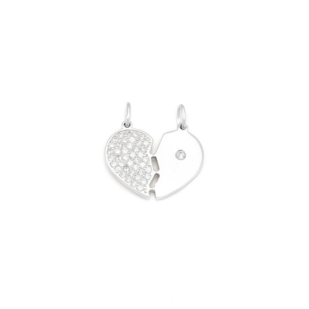 Paclo 16C039IPPR999 argento ag 925 Pendente Galvanica Rodiata con Soggetti Spezzabili Zircone Bianco Cuore 2cm