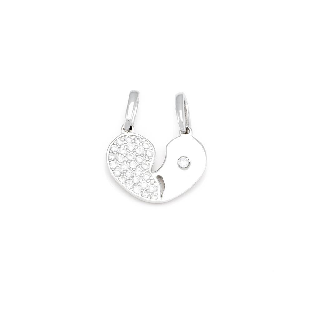 Paclo 16C040IPPR999 argento ag 925 Pendente Galvanica Rodiata con Soggetti Spezzabili Zircone Bianco Cuore 12cm