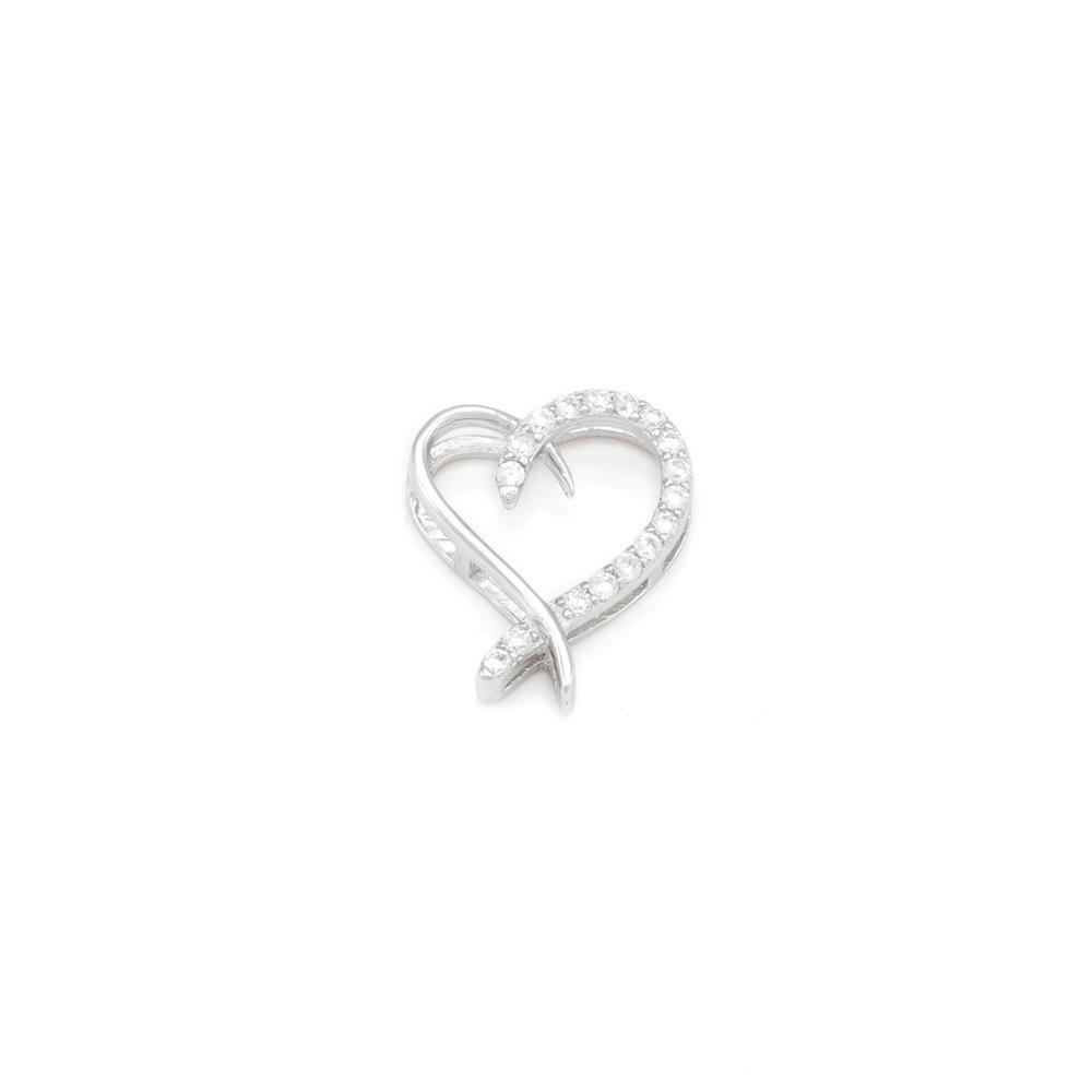 Paclo 16C043IPPR999 argento ag 925 Pendente Galvanica Rodiata Zircone Bianco Cuore 2cm