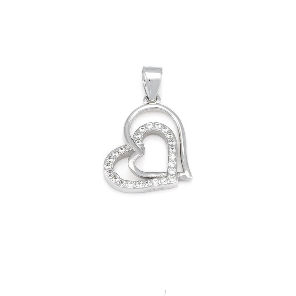 Paclo 16C044IPPR999 argento ag 925 Pendente Galvanica Rodiata Zircone Bianco Cuore 15cm