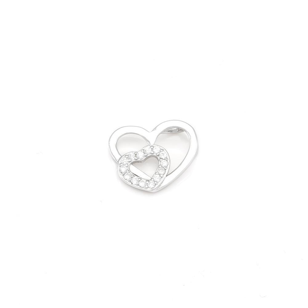 Paclo 16C045IPPR999 argento ag 925 Pendente Galvanica Rodiata Zircone Bianco Cuore 1cm