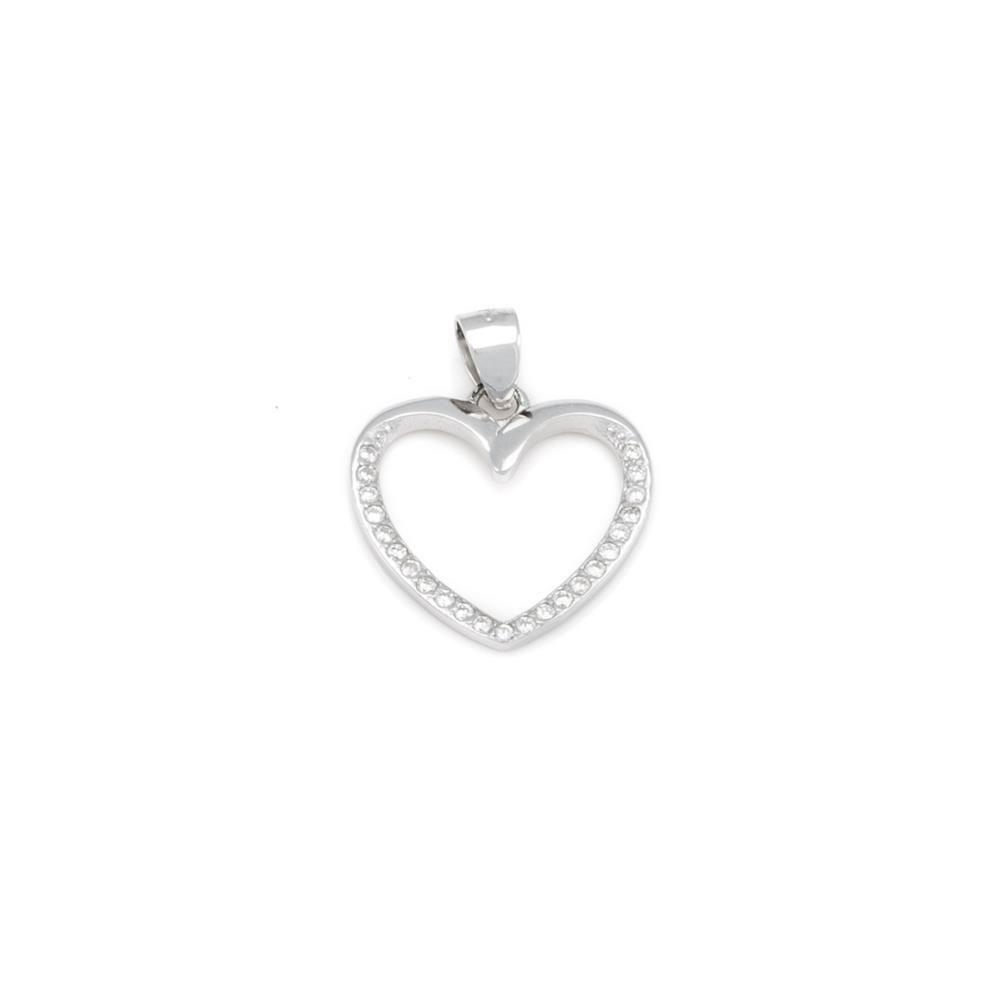 Paclo 16C047IPPR999 argento ag 925 Pendente Galvanica Rodiata Zircone Bianco Cuore 15cm