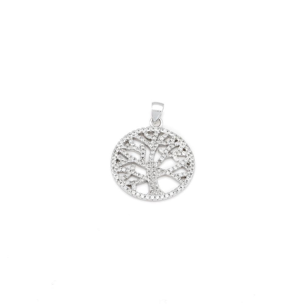 Paclo 16TL03IPPR999 argento ag 925 Pendente Galvanica Rodiata Zircone Bianco Albero della vita 2cm