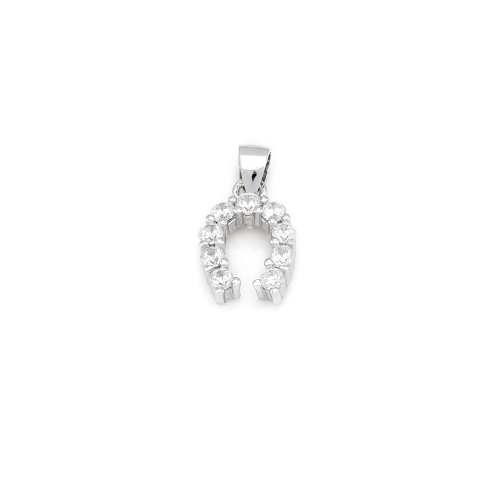 Paclo 16Z050IPPR999 argento ag 925 Pendente Galvanica Rodiata Zircone Bianco Ferro di Cavallo 1cm