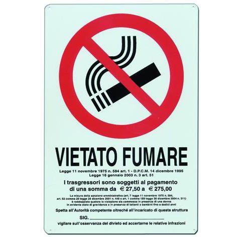 CARTELLO SEGNALI ALLUMINIO VIETATO FUMARE NORMA MM300X200