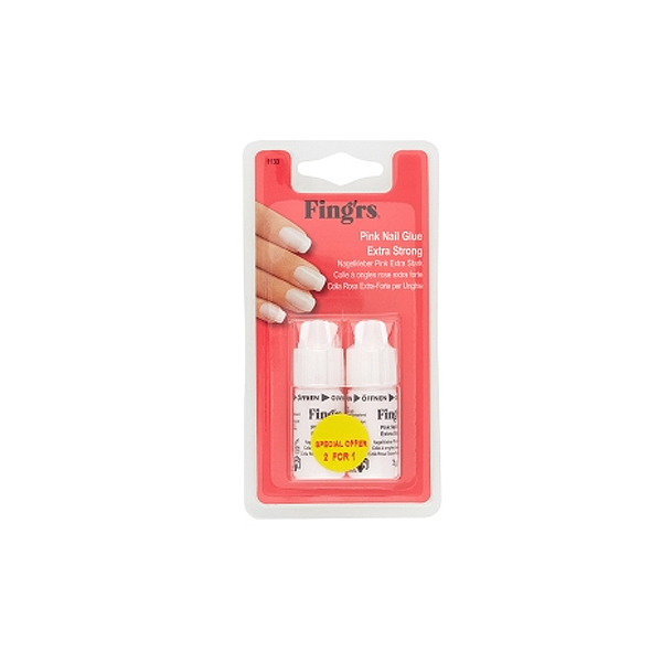Fingrs  Pink nail glue extra strong  colla rosa extraforte per unghie 2 x 3 g