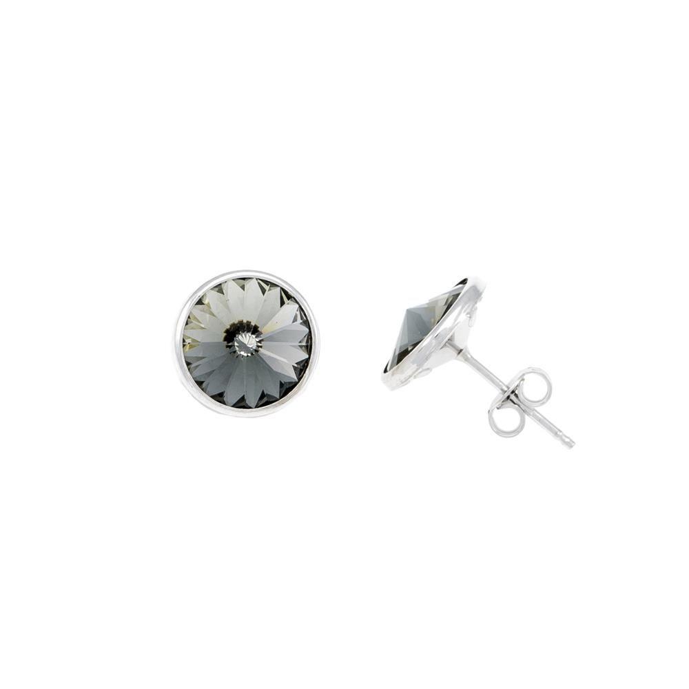 Paclo 12PL09STER999 argento ag 925 Orecchini Galvanica Rodiata e Swarovski Crystals Black Diamond 1cm
